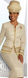 Donna Vinci 5671 Ladies Church Suit In Textured Metallic Fabric With Gold Band & Fringe Details