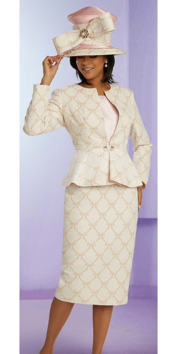 Donna Vinci 5672 Novelty Brocade Fabric Church Suit With Delicate Embroidered Bow Design With Pearl Details