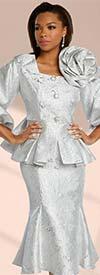Donna Vinci 5673 Womens Flared Skirt Suit In Textured Metallic Brocade Fabric With Bishop Sleeve Peplum Jacket