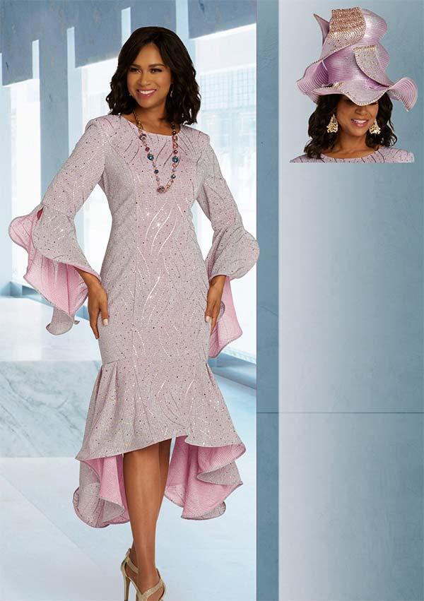 Donna Vinci 5674 Metallic Stretch Knit Flounce Hem Dress With Split Cuff Sleeves