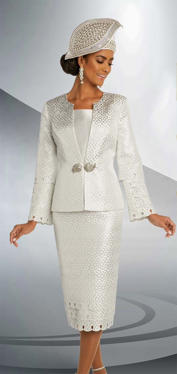 Donna Vinci 5675 Rhinestone Trimmed Womens Church Suit With Keyhole Scallop Details