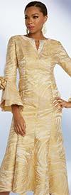 Donna Vinci 5676 Novelty Brocade Fabric Dress With Embellished Narrow Vee Neckline