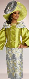 Donna Vinci 5677 Bishop Sleeve Silk Look Jacket With Over Shoulder Collar Adornment And Embroidered Print Skirt