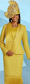 Donna Vinci 5680 Large Rhinestone Embellished Three Piece Womens Skirt Suit With Guipure Lace And Fringe Trim
