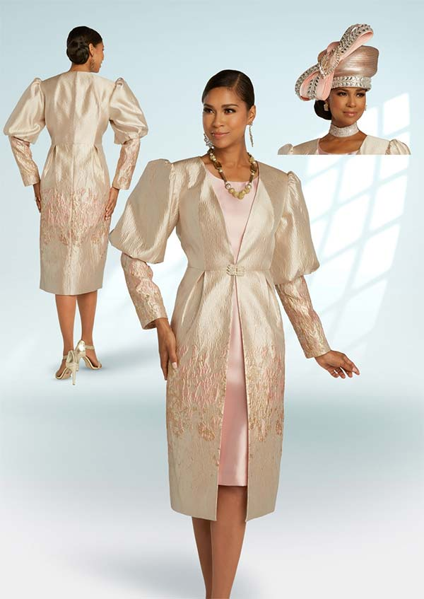 Donna Vinci 5681 Dress And Puff Sleeve Jacket In Novelty Textured Brocade Fabric