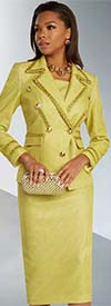 Donna Vinci 5683 Notch Lapel Womens Suit In Novelty Metallic Fabric With Guipure Gold Lace Trimming