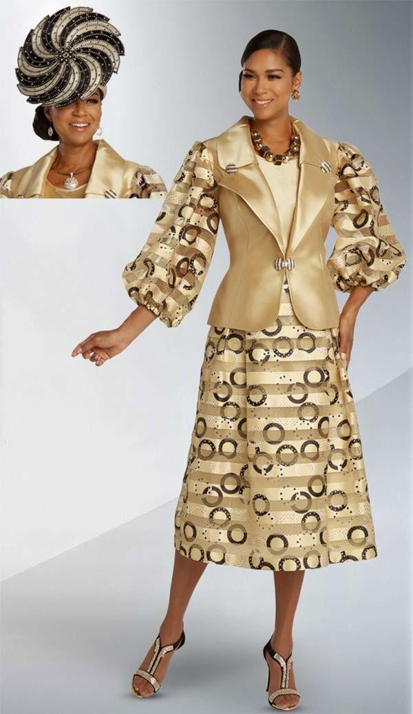 Donna Vinci 5684 Organza Inset Circular Print Pattern Skirt Suit With Bishop Sleeve Jacket