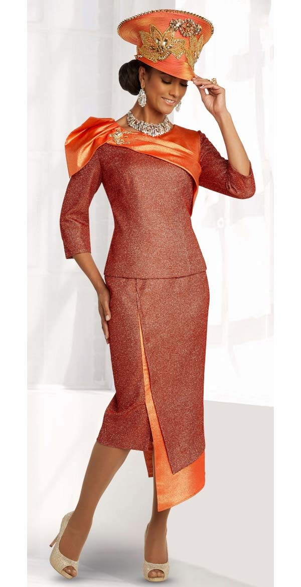 Donna Vinci 5686 Asymmetric Skirt Suit With Novelty Metallic Fabrics And Over Shoulder Detail