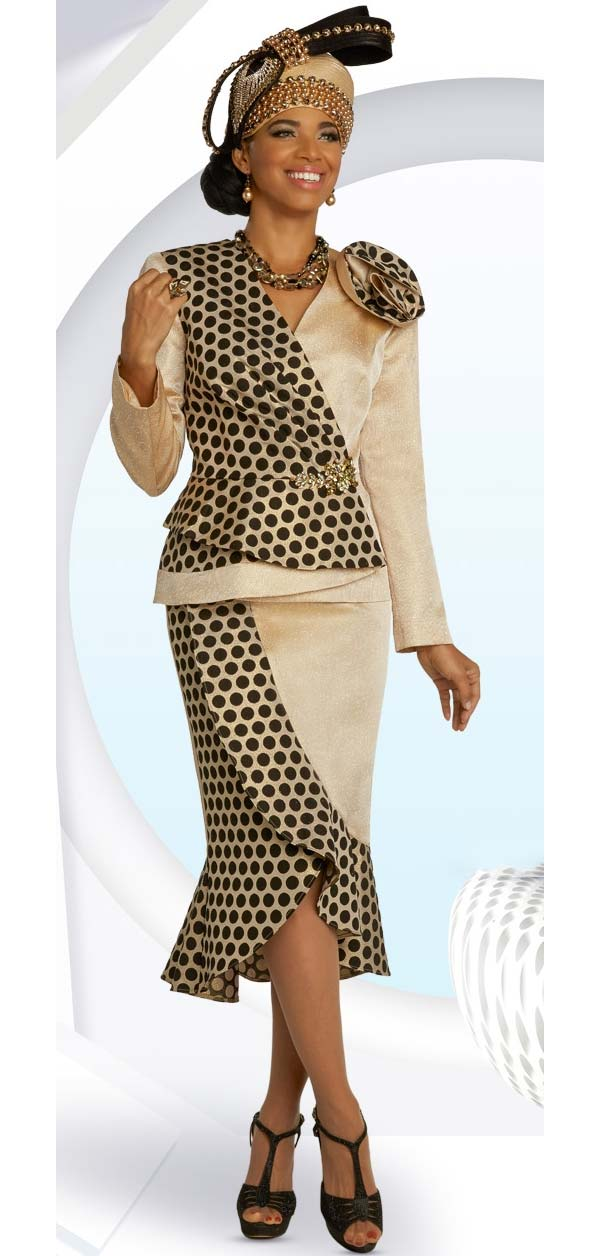 Donna Vinci 5687 Tulip Style Skirt Suit With Novelty Polka Dot & Solid Fabrics