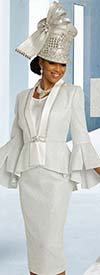 Donna Vinci 5688 Metallic & Silk Look Fabric Church Suit With Split Flounce Cuff Sleeves