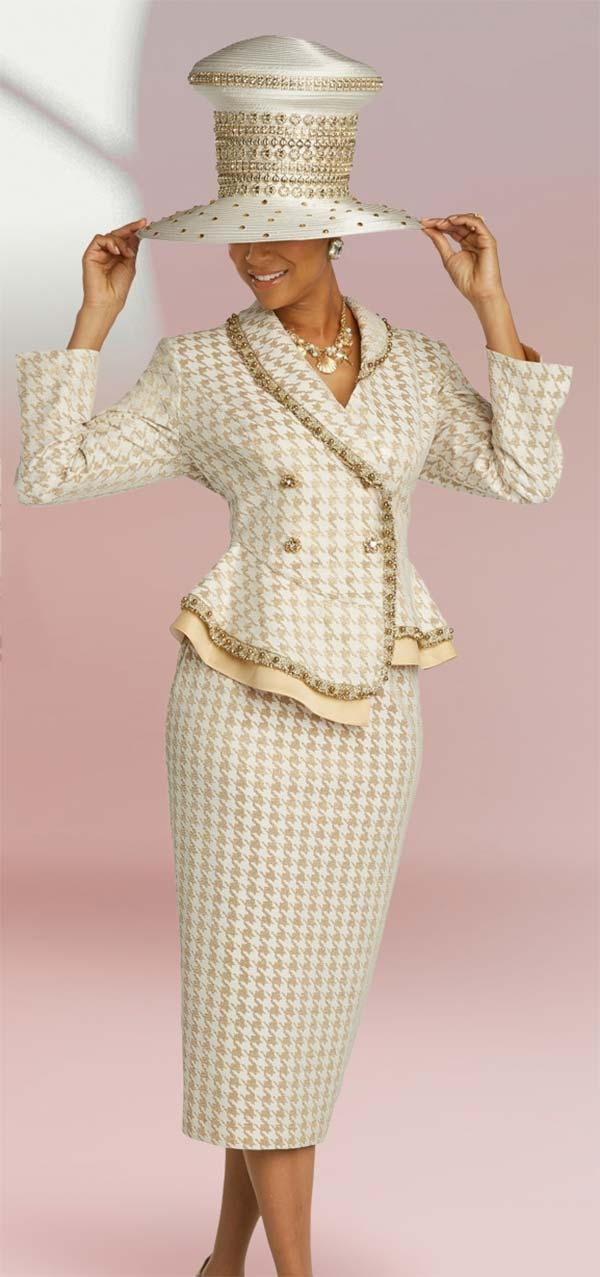 Donna Vinci 5689 Houndstooth Pattern Textured Metallic Fabric Skirt Suit With Boucle' Trimmed Wrap Jacket