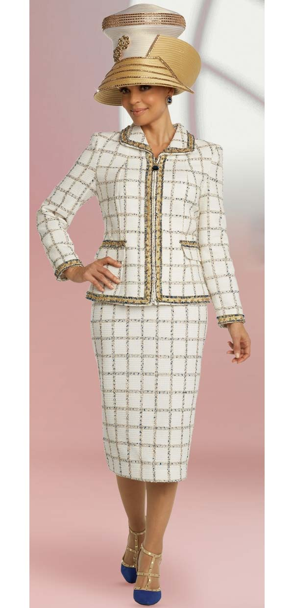Donna Vinci 5690 Grid Pattern Textured Fabric Skirt Suit With Blue Insets Trimmed In Gold Pearls