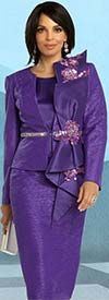 Donna Vinci 5691 Three Piece Skirt Suit With Lace Sequin Trimmed Adornment