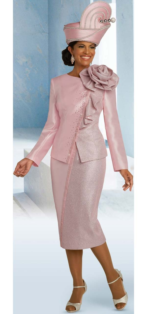 Donna Vinci 5692 Metallic & Silk Look Fabric Church Suit With Shoulder Flower Detail