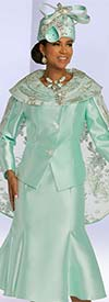 Donna Vinci 5693 Two Piece Womens Flared Skirt Suit With Embroidered Detail Cape Style Jacket