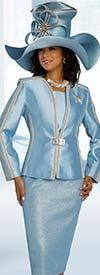 Donna Vinci 5694 Novelty Textured Metallic & Silk Look Fabric Church Suit With Gold Trimmed Band