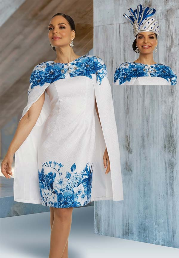 Donna Vinci 5697 Two Piece Dress & Cape Style Jacket Set In Floral Brocade Fabric With Rhinestone Details