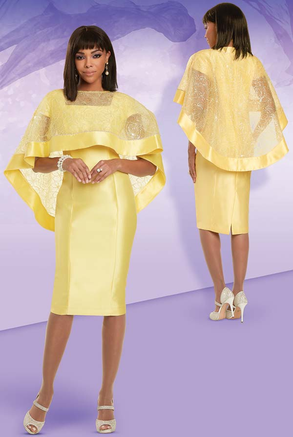 Donna Vinci 11911 - Rhinestone Embellished Womens Church Dress Designed With Detachable Cape