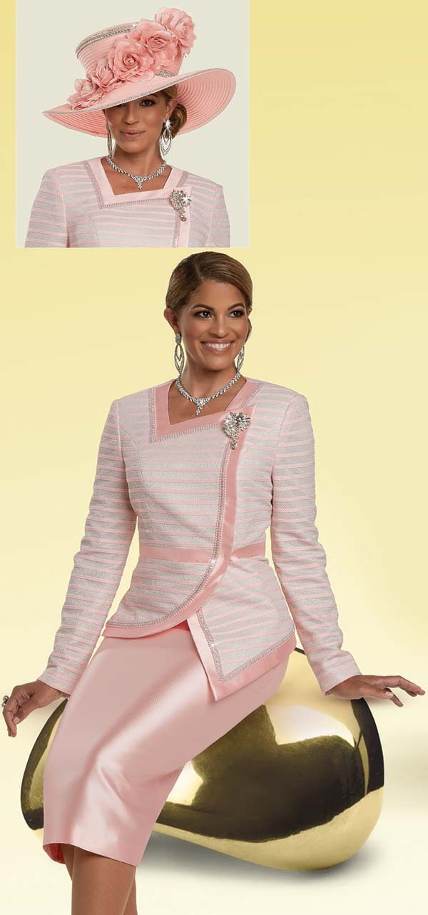 Donna Vinci 11912 - Skirt Suit With Striped Pearl & Rhinestone Trimmed Asymmetric Style Jacket