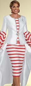 Donna Vinci 11913 - 3-D Striped Design Caped Skirt Suit With Rhinestone Trims