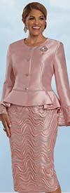 Donna Vinci 11915 - Guipure Lace Trimmed Two Piece Skirt Suit With Flounce Cuff Peplum Jacket