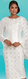 Donna Vinci 11916 - Rhinestone Embellished Church Suit With Repeating Square Pattern On Skirt & Jacket Cape