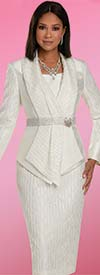 Donna Vinci 11917 - Womens Skirt Suit With Rhinestone Embellished Waistband On Pointed Hemline Jacket