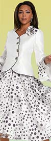 Donna Vinci 11918 - Two Piece Flounce Cuff Jacket And Skirt Set In Polka Dot Print Design
