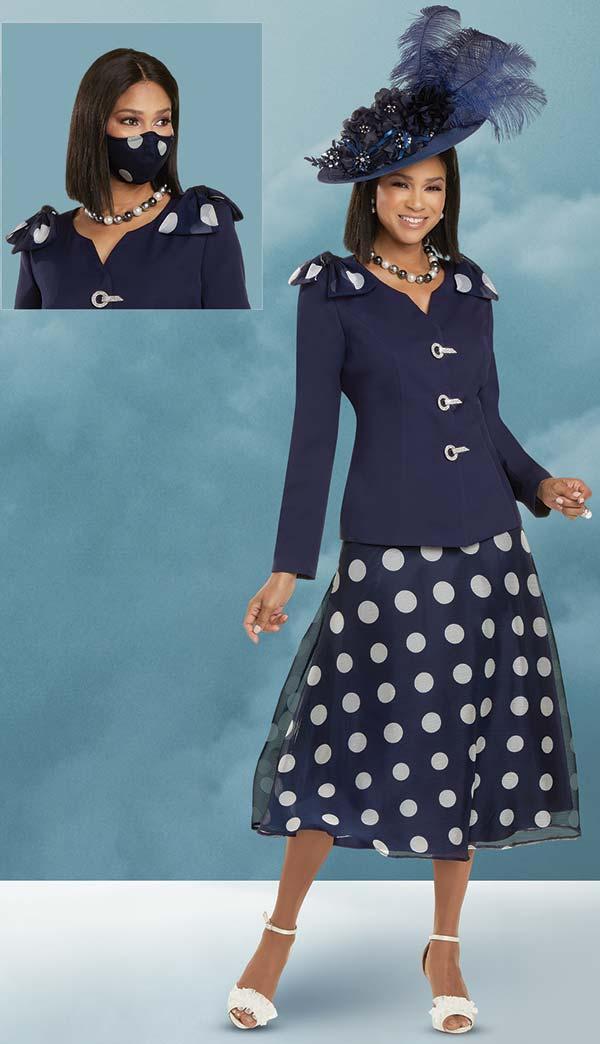 Donna Vinci 11919 - Polka Dot Chiffon Womens Skirt Set With Peach Skin Jacket