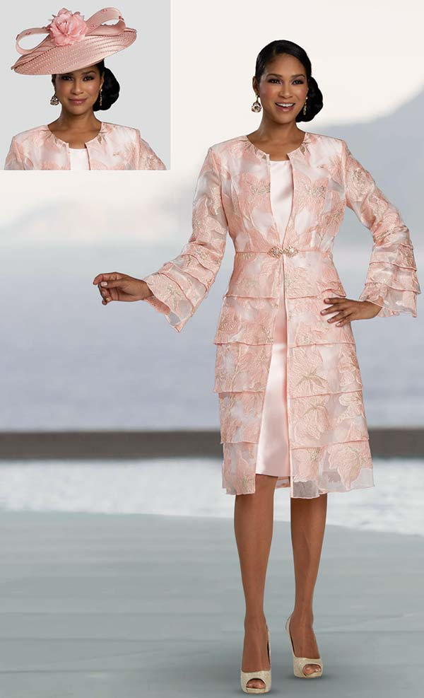 Donna Vinci 11920 - Two Piece Womens Dress And Jacket Set With Tiered Look In Floral Texture Design