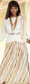 Donna Vinci 11921 - Womens Ruffle Cuff Jacket And Pleated Skirt Set With Gold Rhinestones And Belt
