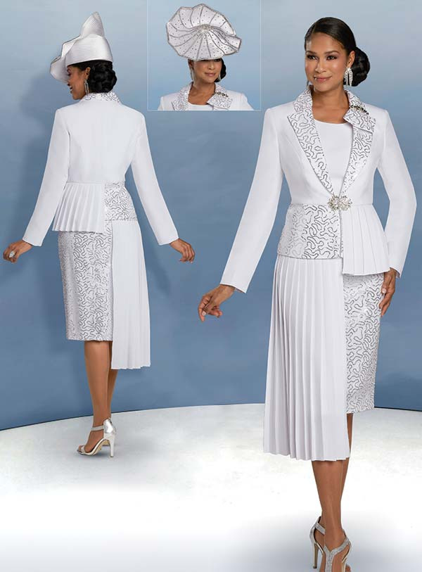 Donna Vinci 11922 - Three Piece Skirt Set With Off-Set Pleated And Sequin Pattern Design