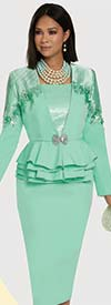 Donna Vinci 11924 - Skirt Suit Featuring 3-D Embroidered Flowers & Pleated Satin Detailed Jacket