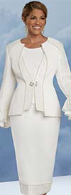 Donna Vinci 11925 - Womens Peach Skin Fabric Church Suit With Ruffle Cuffs Trimmed In Pearls And Rhinestones