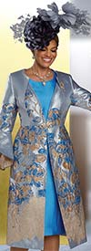 Donna Vinci 11926 - Womens Church Dress With Split Flounce Cuff Sleeve Duster Jacket In 3-D Floral Textured Fabric