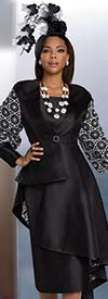 Donna Vinci 11927 - Two Piece Skirt Set With High Low Jacket Featuring Guipure Lace Sleeves