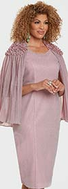 Donna Vinci 11928 - Rhinestone Embellished Womens Church Dress With Attached Pleated Cape