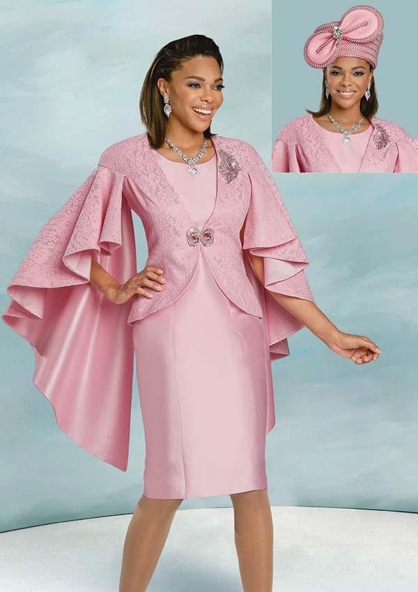 Donna Vinci 11930 - Church Dress Set With Novelty Lace Design Cape Sleeve Jacket