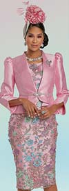Donna Vinci 11932 - Womens Dress With Floral Guipure Lace Applique And Silk Look Peplum Jacket