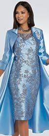 Donna Vinci 11934-Blue - Floral 3-D Novelty Print Church Dress With Waist Cape And Bolero Jacket