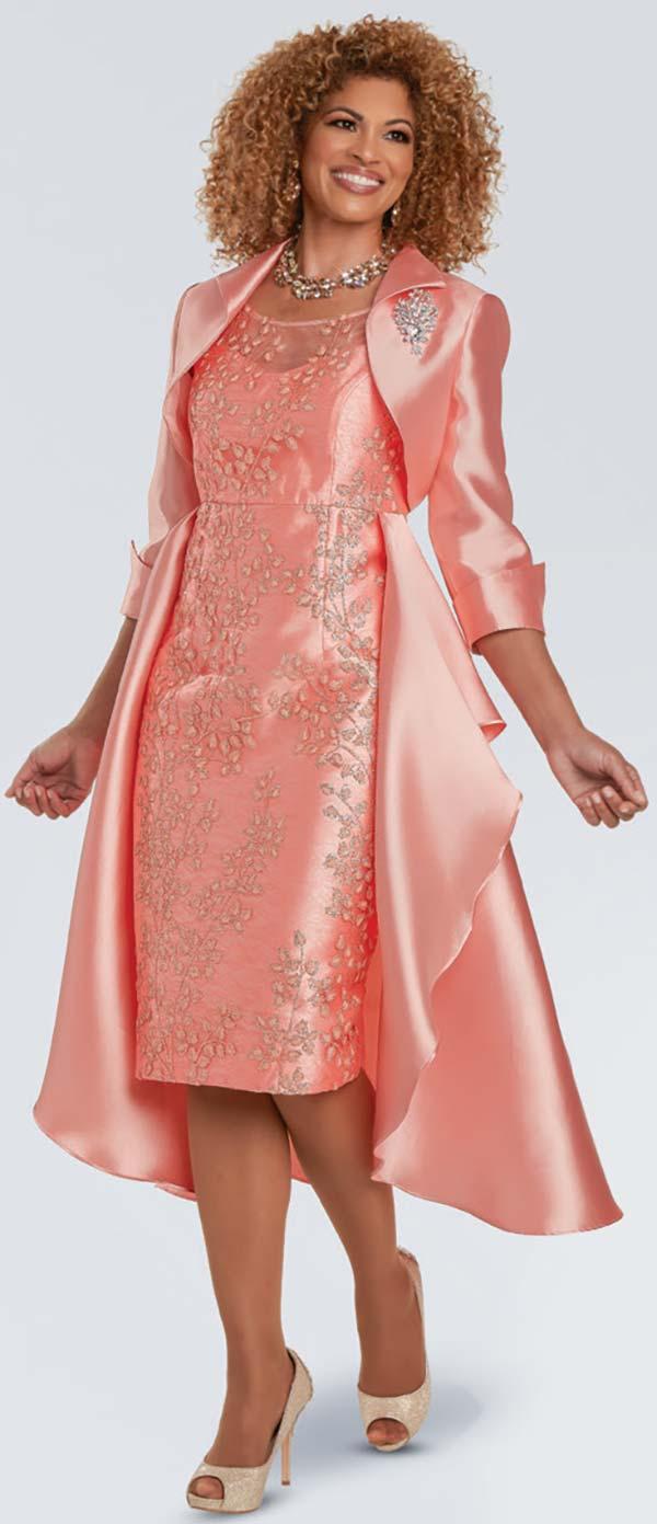Donna Vinci 11934-Peach - Floral 3-D Novelty Print Church Dress With Waist Cape And Bolero Jacket