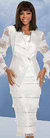 Donna Vinci 11935 - Womens Fringe Trim Asymmetric Jacket And Skirt Set With Rhinestones
