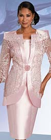 Donna Vinci 11936 - Womens Dress Suit With 3-D Guipure Lace & Embroidery Design Pearl Trimmed Jacket