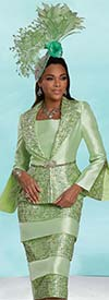 Donna Vinci 11937 - Sequin Trimmed Womens Two Piece Skirt Suit With Split Cuff Peplum Jacket