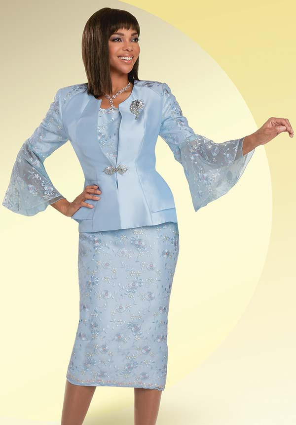 Donna Vinci 11938 - Womens Skirt Suit With Emroidered Floral Accents And Bell Sleeve Jacket