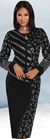 Donna Vinci Knit 13299 - Knitted Yarn Jacket & Skirt Suit With Rhinestone Embellished Design