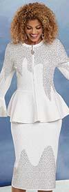 Donna Vinci Knit 13300 - Rhinestone Embellished Bell Cuff Peplum Jacket & Skirt Suit In Knitted Yarn Fabric