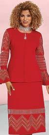 Donna Vinci Knit 13303 - Rhinestone Embellished Knitted Yarn Bell Cuff Jacket & Skirt Suit