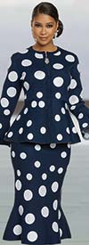 Donna Vinci Knit 13304-Navy - Womens Bell Cuff Sleeve Peplum Jacket And Trumpet Skirt Suit In Polka Dot Knitted Yarn Fabric