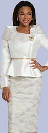 Donna Vinci 5716 - Skirt Suit With Gold & Silver Rhinestone Waistband Trim Jacket Featuring Off-Shoulder Detail